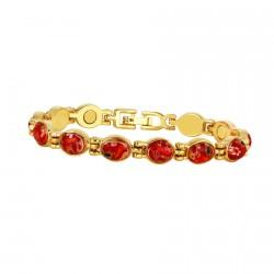 Bracelet magnétique plaqué or - Millefiori rouge, L. 19 cm