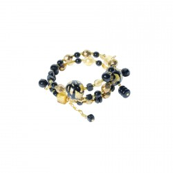 Bracelet métal - Spirale Perles de verre noir