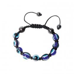 Bracelet verre - Perles Oeil de verre bleu