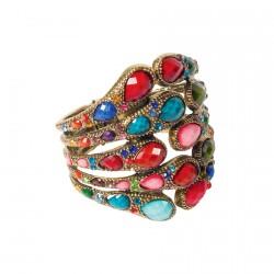 Bracelet manchette - Paon multicolore