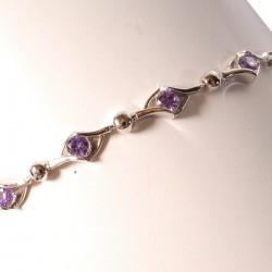 Bracelet argent violet - Diana 16 cm + chaînette 3 cm. Zircons 3 mm