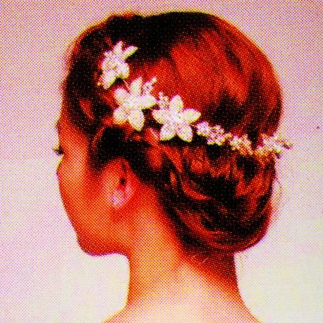 Bijou de Cheveux , Fleurs de Cristal, L. 28 cm