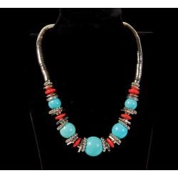 Collier - Tibétain turquoise, L. 45 cm