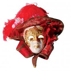 Masque céramique - Milady rouge, L. 29 cm