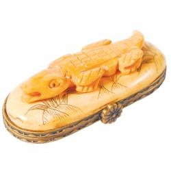 Petite Boite os sculpté - Crocodile, L. 5,5 cm