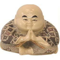 Figurine ivoirine - Moine japonais : Priant, H. 7 cm