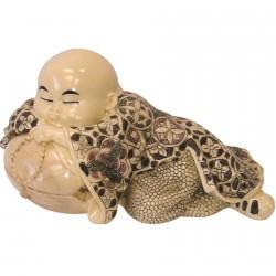 Figurine ivoirine - Moine japonais : Couché, L. 14 cm