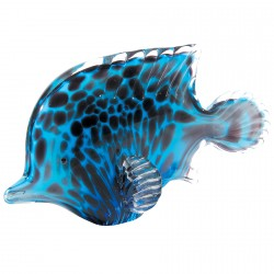 Verre soufflé - Poisson Tropical bleu marine, L. 21,5 cm