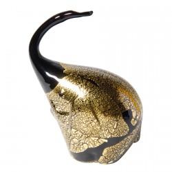 Verre Soufflé - Eléphant noir doré 9 x 6 cm
