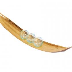 Bougeoir plaqué or - Feuille de Bananier, L. 80 cm