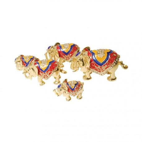 Petite Boite à secrets émaillée - 4 Eléphants