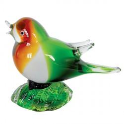 Verre Soufflé - Petit Oiseau Queue verte, H. 12 cm
