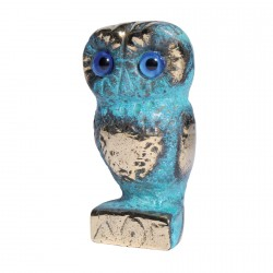 Sculpture bronze bleu - Chouette, H. 8 cm
