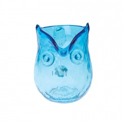 Carafe verre - Hibou bleu, H. 12cm