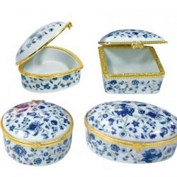 Set de 4 boîtes en porcelaine
