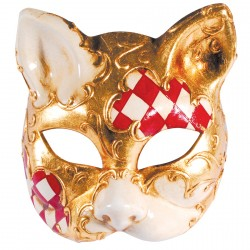 Masque - Chat Damier rouge, H. 16 cm