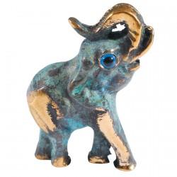 Bibelot bronze bleu - Eléphant, H. 4,5 cm