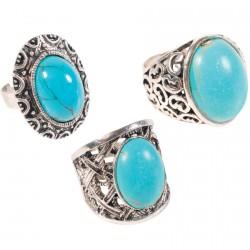 Bague - Antiques Turquoises, (lot de 3)