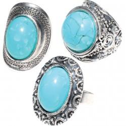 Bague réglable - Antiques Turquoise (lot de 3)