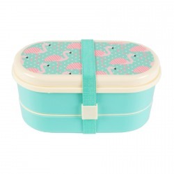 Lunch Box - Boite à Bento : flamant Rose, L. 17 cm