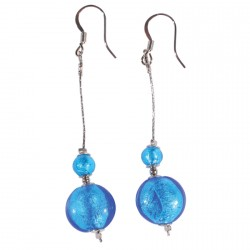 Boucles d'oreilles Pendants - Murine bleu, H. 6,5 cm