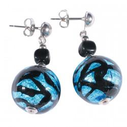 Boucles d'oreilles Clou - Murine Spirale bleue H. 3,5 cm