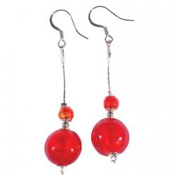 Boucles d'oreilles Pendants - Murine rouge, H. 6,5 cm