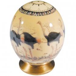 Oeuf de collection - Oeuf d'autruche : Autruches, H. 15 cm