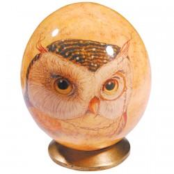 Oeuf de collection - Oeuf d'autruche : Hibou, H. 17 cm