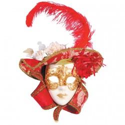 Masque - A La Plume Rouge, H. 40 cm