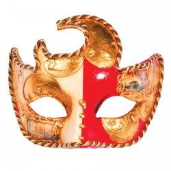 Masque - Lune : Décors de Venise rouge, L. 17cm