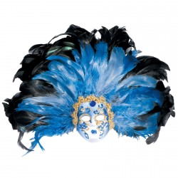 Masque - Paon Bleu, L. 27 cm
