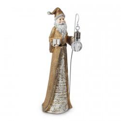 Figurine - Père Noel doré, H. 28 cm