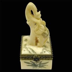 Pilulier os sculpté - Eléphant, H. 5cm
