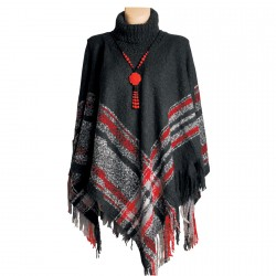 Grand poncho Rouge