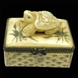 Petite Boîte os sculpté - Netsuké : Tortue