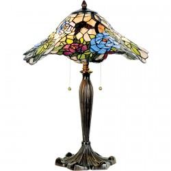 Lampe de Table - Tiffany : Ondule vert, H. 46 cm