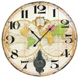 Grande Horloge - Map Monde, ø 58 cm