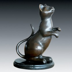 Sculpture Bronze - Chat Assis, H. 27 cm