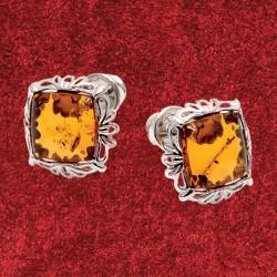 Boucles d'Oreilles Clous - Coussin Ambre