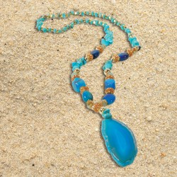 Collier - Agate Turquoise, L. 75 cm