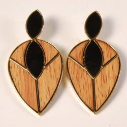 Boucles d'Oreilles Pendants - Feuilles Art Déco, H. 7,5 cm