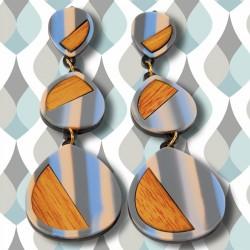 Boucles d'Oreilles Clips - Bois et Couleur, H. 10,5 cm