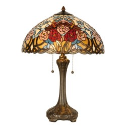 Lampe de Chevet - Tiffany : Roses, H. 64 cm