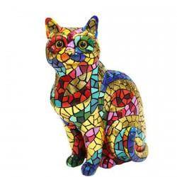Sculpture mosaïque - Gaudi : Chat , H. 11 cm