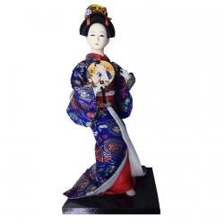Poupée de Collection - Gaisha Kimono bleu, H. 28–30 cm