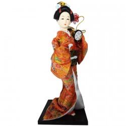 Poupée de Collection - Gaisha Kimono rouge, H. 28–30 cm