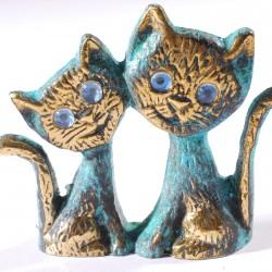 Figurine bronze bleu - Chats Mignons, H. 6 cm