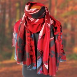 Etole - Feuillages Rouge, L. 190 cm