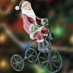 Décoration de Noël - Père Noël sur son Vélo, H. 26 cm